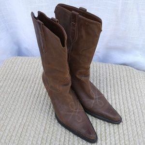 Franco Sarto Brown Leather Western Cowgirl Boots 7